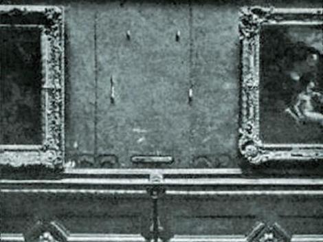 Lugar que ocupaba La Gioconda en el Louvre, tras el robo de 1911.