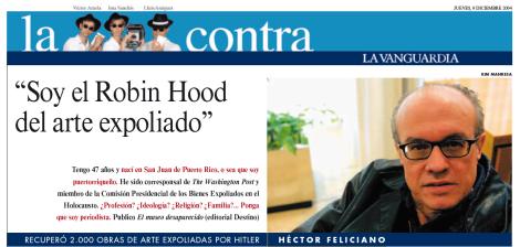 Entrevista a Héctor Feliciano. Lluís Amiguet, La Vanguardia.