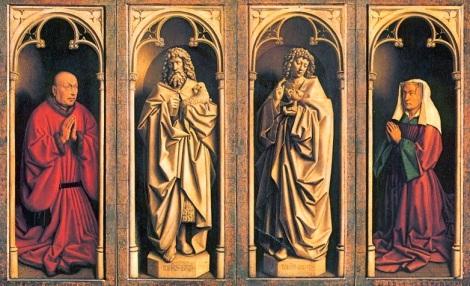 Detalle del Políptico de Gante (paneles cerrados). Paneles centrales: San Juan Bautista y San Juan Evangelista. Paneles laterales: los donantes Jodocus Vijd y su esposa.