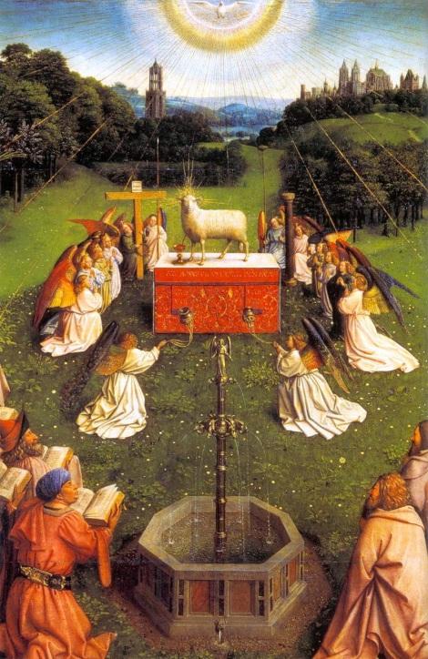 Celebración de la Eucaristía. Panel central inferior del Políptico de Gante.