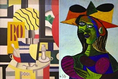 Fernand Léger. Nature morte aux chandeliers (izquierda), robada del Museo D'Orsay de París, en mayo de 2010. Pablo Picasso, Cabeza de Mujer (derecha) sustraída de un yate en 2000.