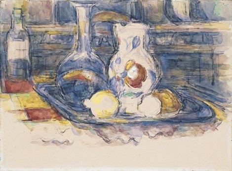 Cézanne. Botella, garrafa, jarro y limones . 1902-1906 Acuarela sobre papel. 44,5 x 60 cm Museo Thyssen-Bornemisza.