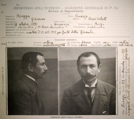Ficha policial de la detención de Vincenzo Peruggia (diciembre de 1913).