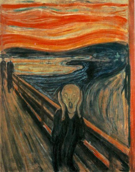 Edvard Munch, El Grito (1893). 91 × 73.5 cm. Galería Nacional de Noruega.